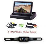 Podofo® 4.3″ faltbarer drahtloser Auto-TFT LCD-Spiegel-Monitor mit wasserdichter Nachtsicht-Parken-Rückfahrkamera-Installationssatz