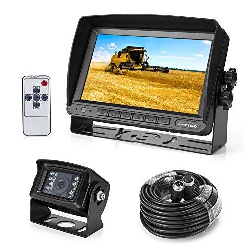 Rückfahrkamera 18 IR LED Wasserdicht Rückfahrsystem Kamera + 7″ TFT LCD KFZ Monitor ( Zwei Halterungen)